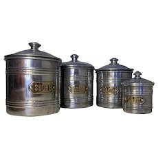 Vintage French Aluminium Kitchen Cannisters