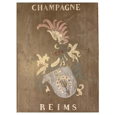 19th Century French Wooden Champagne House Sign