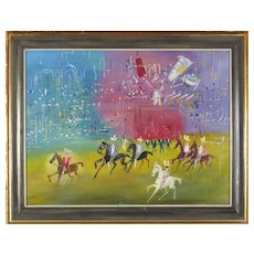 Antique French Oil on Canvas Horse Race Fair