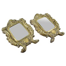 A Pair of 19th Century French Brass Framed Wall Hanging Mirrors