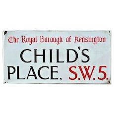 Antique Enamel London Street Sign Childs Place