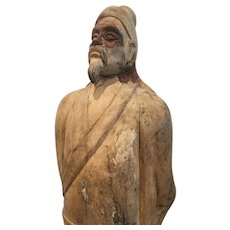 Vintage Chinese Carved Hardwood Figure of a Standing Gentleman