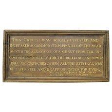 19th Century Victorian Oak Church Plaque