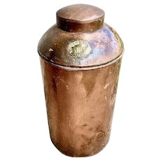 Large 19th Century Copper Coffee Bean Canister
