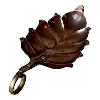 Victorian Brass and Copper Leaf Shaped Spoon