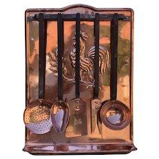 Antique French Copper Utensils Set