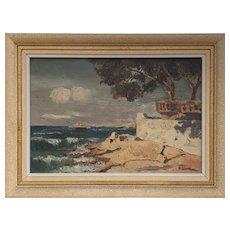 Vintage Côte d'Azur Oil on Canvas