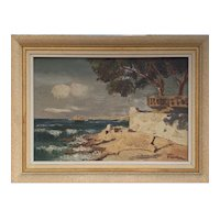 Vintage French Painting of Côte d'Azur