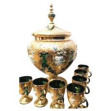 Czechoslovakian gilt and green glass punch bowl