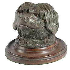 Antique French Cold Painted Metal Dog Head Inkwell