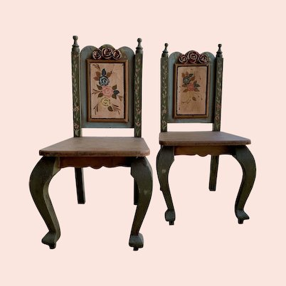 Vintage Pair of Dolls Chairs