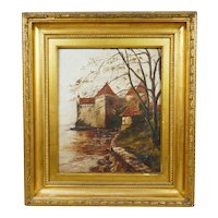 19th Century Oil on canvas painting of A Flemish Castle