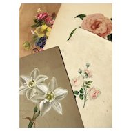 19th Century Four Botanical Watercolours of Flowering Blooms