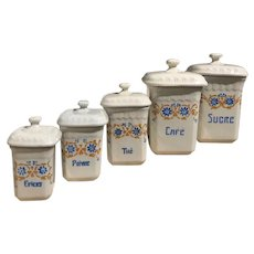 Vintage French China Kitchen Canisters