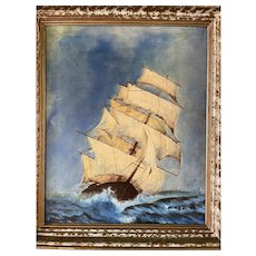 French Oil on Canvas of a Ship at Sea