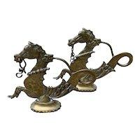 Brass Venetian Gondoal Seahorse Finials
