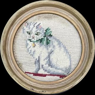 Antique English Needlepoint Cat