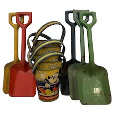 Mickey Mouse Toddlers Tin Pail and Shovel 1930s