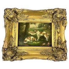 Antique Oil on Canvas Hounds in Guilt Frame