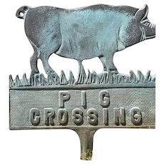 Lovely Vintage Cast Iron Sign Pig Crossing