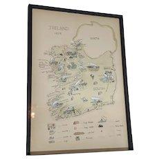 Vintage Irish Hand Drawn Ireland Map Painting