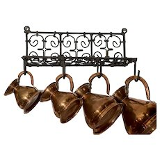 19th Century French Iron Rack With Copper Jugs