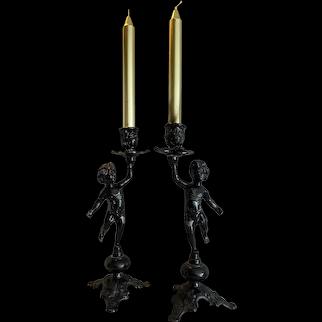 Antique Italian Cherub Candlesticks
