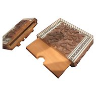 A Middle Eastern Sandalwood and Sadeli Work Card Case