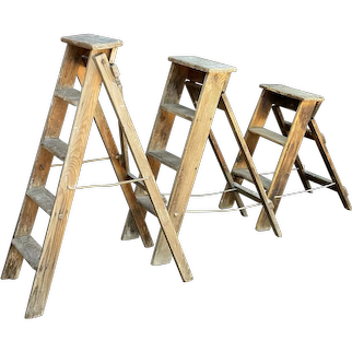 Early 20thC Set of Wooden Decorators Ladders