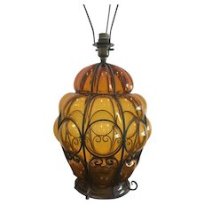 Large Venetian caged Vintage Amber Glass Table lamp Murano Italy