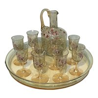 Antique French Hand Painted Liquor Set