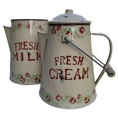 Vintage Enamelled Dairy Jugs