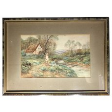 Vintage Watercolour of a Mill
