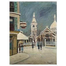 Antique French Monmatre Painting