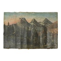 19th Century Oil on Canvas Mountains