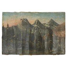 19th Century Oil on Canvas Mountains