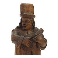 18th Century Folk Oak Carving of a Musician