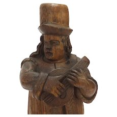 18th Century Folk Oak Carving of a Musician