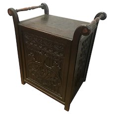 19th Century Carved Oak Music Stool with Hinged Lid