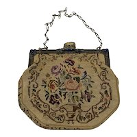 Edwardian Gilt Metal Lapis Lazuli and Needlepoint Purse