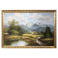 Early 20th Century Oil on Canvas by Peter Metzinger, view of mountains