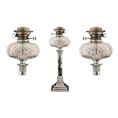 Edwardian Fine Quality Oil Lamp with a Cut Glass Font Bowl with Burner, Makers Hinks Duplex