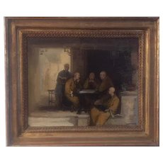 17th Century Painting Monks at a Gaming Table