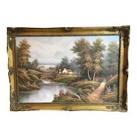 Vintage Oil on Canvas River Scene