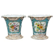 Pair of 19th Century Hand Painted Vases