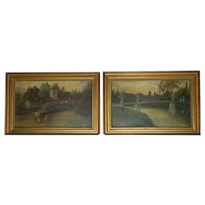 Pair of Antique Oil on Board