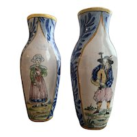 A Pair of French Faience Breton Ceramic Vases