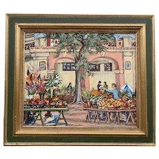 Vintage Oil on Canvas Parisian Market
