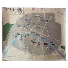 Vintage French Classroom Paris Map