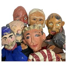 Vintage French Papier Mache Hand Puppets
